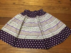 Girls AUDREY'S GARDEN prairie Skirt Tiered Purple Florals Polka Dots Size 1-2