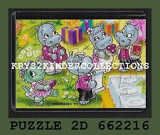 Jouet kinder puzzle 2D Happy Hippo Hochzeit 662216 Allemagne 1999 + étui +BPZ