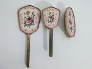 Vintage Vanity Set With Mirror & Brush x2 Dressing Table Floral Brass