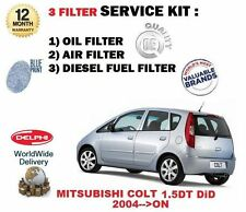 FOR MITSUBISHI COLT 1.5 DT DiD 2004-->NEW OIL AIR FUEL FILTER ( 3 ) SERVICE KIT