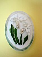 Vintage Reversed Carved Lucite White Iris or Orchid Brooch Pin  SHP