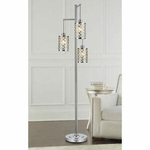 Gisele Crystal 3 Arm Floor Polished Chrome Lamp with Crystal Beaded Shades