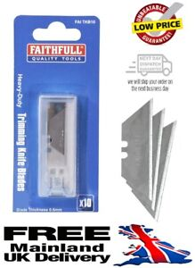 New Faithfull H/Duty Trim Knife Blades Wallet 10 Blade19 x 60mm Thickness 0.6mm