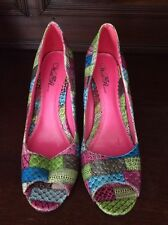 Wild Rose Hot Pink Patchwork Stilettos Size 11 Medium