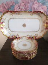 LS&S Limoges France Serving Platter And Set Of 8 Plate Red Gold Medallion Flower
