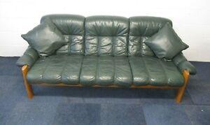 EKORNES MONTANA Vintage Sofa, 3 Seater, Green Leather, Wooden Frame, 215cm Wide