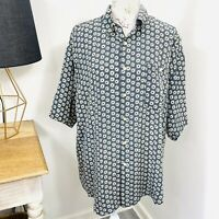 Vintage Myer Direct Mens Shirt Silk Button Front Short Sleeve Size XL