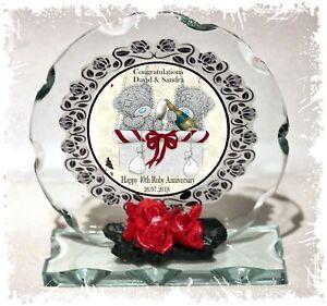 Teddies Ruby 40th Wedding Anniversary,  Cut Glass Plaque Personalised Gift  #1