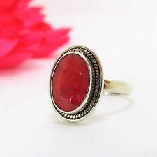 Vintage Native American Sterling Silver 4.77 CTW Oval Ruby Ladies Ring Size 10