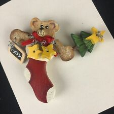 Stocking Wooden Hand Painted Locking Bar Vtg Christmas Brooch Pin Teddy Bear in