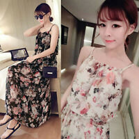 Women Floral Print Sleeveless Maxi Long Party Dress Fashion Summer Beach DressCO