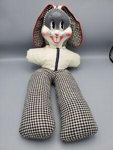 Vintage Rabbit Plush Doll With Plastic Face