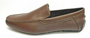 Calvin Klein Size 11.5 Brown Leather Loafers New Mens Shoes