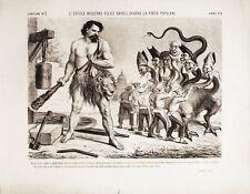 Ercole Moderno Napoli - Litografia 1800 - Il Lampione - Carlo Collodi SATIRA