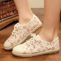 Womens Floral College Sweet Flats Casual Shoes Oxfords Lace Up Ladies Sneakers