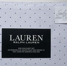 Ralph Lauren NAVY BLUE DOTS 4pc KING BED SHEET SET White Xdp Fit 100% COTTON new