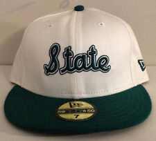 """Michigan """"STATE"""" Spartans NCAA New Era 59FIFTY Fitted Hat Green/White Mens 7 3/8"""