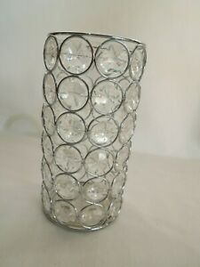 Metal Beaded Vase Centerpiece with Faux Crystals & Glass Insert Party Decor