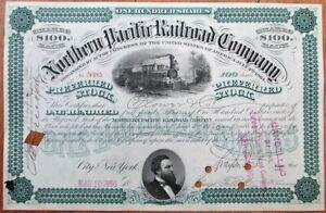 Northern Pacific Railroad Company 1896 Stock Certificate - Green