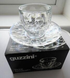 NEW ITALIAN GUZZINI VENICE DESIGN ESPRESSO COFFEE CUP & SAUCER SET