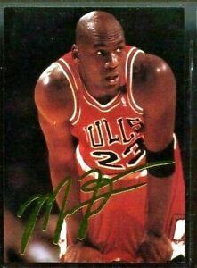"""Michael Jordan 1993 """" Dédicacé Américain Portant Or Feuille Carte #2 De 5"""