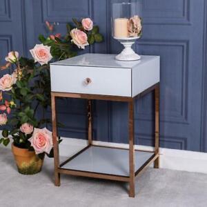 White Glass Bedside Table Rose Gold Venetian Bedroom Furniture Unit Cabinet