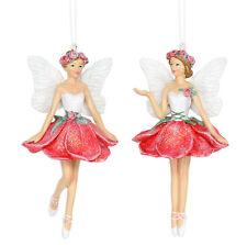 2x Gisela Graham Surtido Rojo Colgante Rosa Hada Decoración Árbol Navidad 10cm