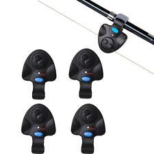 4PCS Fishing Bite Alarm Electronic Fish Finder Alert Bell LED Light Clip Rod