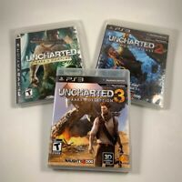 Uncharted 1, 2 and 3 - 3 PlayStation 3 Games PS3 Lot - All Complete W/ Manuals