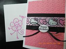 Handmade HAPPY BIRTHDAY Card ~HELLO KITTY  Using Stampin Up Darice Embossed