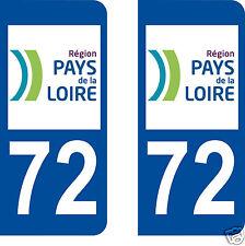 stickers autocollants plaques immatriculation auto Département Sarthe 72