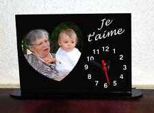 Horloge de bureau personnalisée 1 coeur photo sur fond couleur noir avec texte