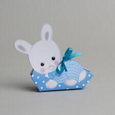 lot de 10 boites à dragées ballotin lapin bleu baptême 1320