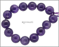 "14 Natural Amethyst Round Beads ap. 14mm 7.8"" #55108"