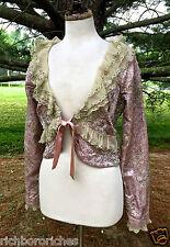 NEW Free People pink beaded lace satin Bolero Jacket silk tie 4