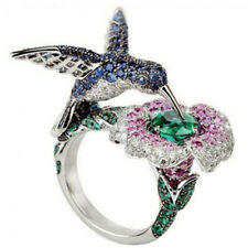 6.5 ct Green&Blue&Pink Sapphire Hummingbird 925 Silver Wedding Ring Size 10