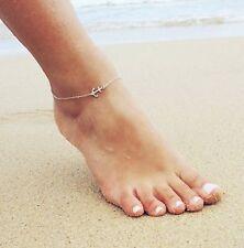 ☆ Fußkette Anker Anhänger | Hoffnung Glaube Schutz Liebe | Silber Edelmetall ☆
