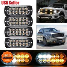 4x 12 LED Amber/White Car Emergency Warning Flash Strobe Light Kit Bar Truck US