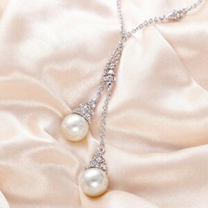 18K White Gold GF Made With Swarovski Lab Pearl Double Tower Drop Necklace