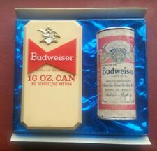 Vintage Budweiser 16oz beer can wall hanger sign