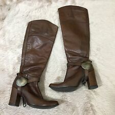 Charles David Brown Leather Knee High Zip Boots Buckle Sz 5.5 Equestrian Womens