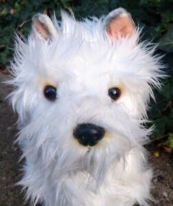 Dog Plush Vintage 1990s FAO Schwarz White Shaggy Puppy Stuffed Animal EUC
