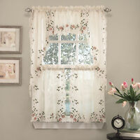 "Rosemary Floral Embroidered Semi-Sheer Kitchen Curtain 36"" Tier Swag Valance Set"