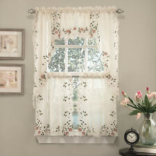 """Rosemary Floral Embroidered Semi-Sheer Kitchen Curtain 36"""" Tier Swag Valance Set"""