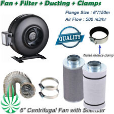 "6"" INLINE CENTRIFUGAL EXHAUST DUCT FAN AIR ACTIVATED ACTIVE CARBON FILTER KIT"