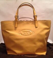 Tod's Logo Shopping Media Tote Bag Yellow Leather RRP £524.00