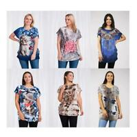 Caroline Morgan Women Casual Loose Tops Summer Floral Tiger Cat Dog Animals Top