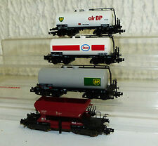 4x Güterwagen mit KKK: Fleischmann 8525 K, Minitrix 13992, 13994, 13996 Spur N