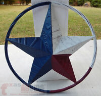 "16"" Texas Flag Barn Star Metal Embossed License Plate Western Wall Decor Rustic"
