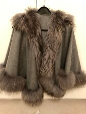Cashmere Poncho Cape Fox trimmed Harrods of London
